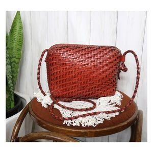 Vtg L.J.S. Collection Leather Basket Weave Purse